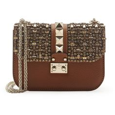 Valentino Small Crystal Lock Shoulder Bag ($3,045) ❤ liked on Polyvore featuring bags, handbags, shoulder bags, purses, bolsas, valentino, tan, brown crossbody purse, crossbody purse and hand bags