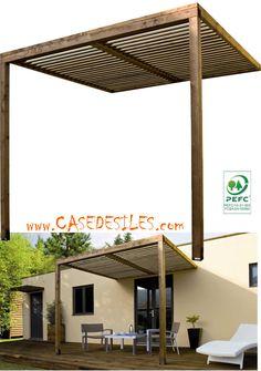 Auvent en bois à Prix Canon : Auvent de terrasse bois lames ajourées ABT2525