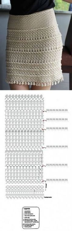 New skirt crochet diagram moda Ideas Crochet Skirt Outfit, Crochet Bodycon Dresses, Crochet Skirts, Crochet Clothes, Skirt Pattern Free, Crochet Skirt Pattern, Crochet Diagram, Crochet Patterns, Skirt Patterns