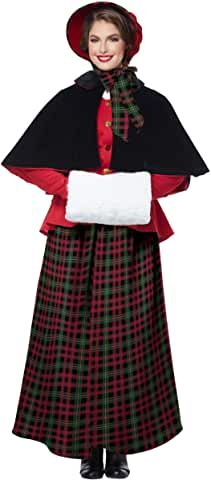 Holiday Caroler Dickens Woman Adult Costume: The Holiday Caroler Dickens Woman adult costume features a peplum button front jacket, capelet, long plai Diy Costumes, Adult Costumes, Costumes For Women, Long Plaid Skirt, California Costumes, Victorian Costume, Costume Collection, Christmas Costumes, Red Blouses