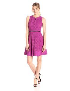 Calvin Klein Women's Scalloped Eyelet Dress at Amazon Women's Clothing store: