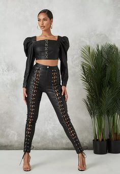 Black Coated Lace Up Jeans | Missguided Black Faux Leather, Missguided, Corset, Lace Up, Jeans, Shopping, Sleeve, Tops, Dresses