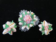 VTG Gorgeous Sea Shell Brooch & Earrings