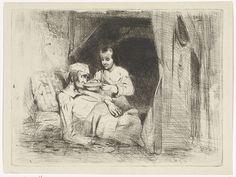Petrus Marius Molijn   Zieke man krijgt te drinken, Petrus Marius Molijn, 1829 - 1849   Een vrouw houdt een kom drinken tegen de lippen van een in bed liggende zieke man.