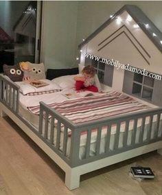 Roofed Floor Bed with Legs - Dream bedroom - - Baby Boy Rooms, Little Girl Rooms, Baby Cribs, Baby Bedroom, Girls Bedroom, Nursery Room, Baby Bedding, Dream Bedroom, Toddler Rooms