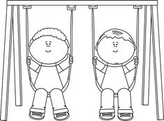 Black and White Black and White Kids Swinging