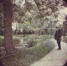 Claude Monet in his garden, Giverny, c. 1921.