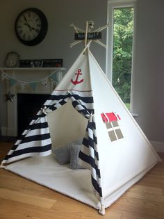 Kids Teepee play tent 'Ahoy Matey Black' Pirate / Nautical teepee with poles option