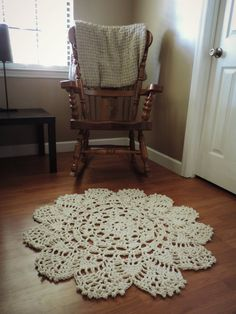 Cotton Crochet Doily Rug, 3 foot rug, one meter rug, ecru off white cream carpet throw rug, door mat,, area rug, shabby decor, cottage chic