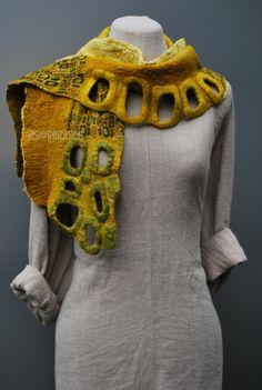 #Felted #Scarves - Golden, beautiful design http://www.lovelysilks.com