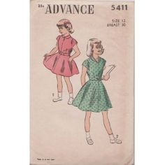 Vintage Girls Dress Advance Sewing Pattern 5411 (Size: 12 Breast 30)