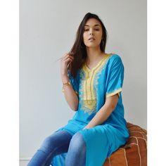 Spring Turquoise Resort Caftan Kaftan Fez-Ramadan Eid Resortwear ($49) ❤ liked on Polyvore featuring dresses, grey, women's clothing, long kaftan, beach caftan, beach kaftan and long caftan