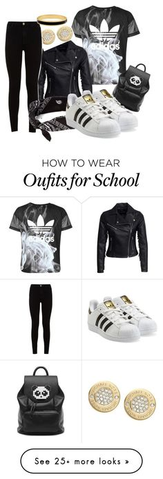 """stop skreeching FaGGg! """"School Outfit"""" by hannahm2000-1 on Polyvore featuring moda, adidas, New Look, Michael Kors, 7 For All Mankind, Freddy, claire's, adidas Originals e Halcyon Days"""