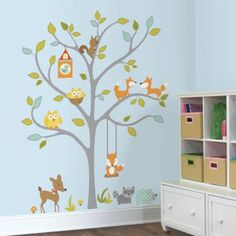 RoomMates Woodland Fox and Friends Tree Giant Peel and Stick Wall Decals - BedBathandBeyond.com
