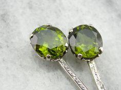 Olive Green Peridot Drop Earrings Made with Art Deco by MSJewelers