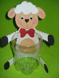 diy mouton pot avec bouteille recyclée + gabarit mouton