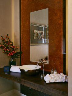 Windsor Powder Room - St James Interiors - Walnut vanity unit and recycled backlit glass. Saint James, Vanity Units, Recycled Glass, Powder Room, Windsor, Bathrooms, Mirror, Luxury, Interiors
