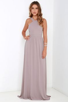 More romantic than a candlelit dinner or a trip to the Eiffel Tower, the Air of Romance Taupe Maxi Dress will have you feeling the love! Lightweight Georgette falls from a modified halter neckline, into a seamed bodice supported by semi-sheer shoulder str Taupe Maxi Dress, Elegant Maxi Dress, Chiffon Maxi, Dress Up, Blue Maxi, Pink Dress, Nude Maxi Dresses, Grey Maxi, Maxi Dresses