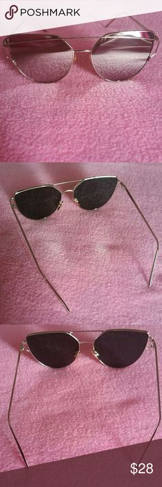 Cat eye mirrored Sunglasses Brandnew Silver lens silver frame,one size No trades Price firm Accessories Glasses