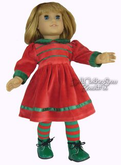 3PC Christmas Red Velour Dress + Tights + Boots for American Girl Doll Clothes #Generic
