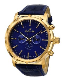Porsamo Bleu Men's NYC Yellow Gold & Blue Mother of Pearl Watch