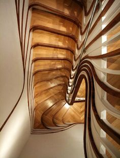 unusual curved staircase design by Atmos Studio Wooden Staircase Design, Wooden Staircases, Curved Staircase, Modern Staircase, Stairways, Stair Design, Spiral Staircases, Staircase Pictures, Staircase Ideas