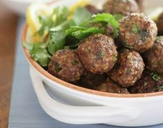 Middle Eastern meatballs with coriander leaves recipe