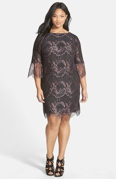 Adrianna+Papell+Scalloped+Lace+Shift+Dress+(Plus+Size)+available+at+#Nordstrom