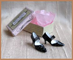 Miniature designer black heels; 1/12 scale