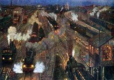 """Großstadtbahnhof"" 1904, Hans Baluschek (1876 -1935)"