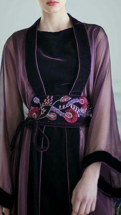 embroidery embellishment velvet floral purple darkبردو ت ل Mode Abaya, Mode Hijab, Hijab Fashion, Fashion Dresses, Punk Fashion, Lolita Fashion, Fashion Tips, Robes Glamour, Mode Kimono