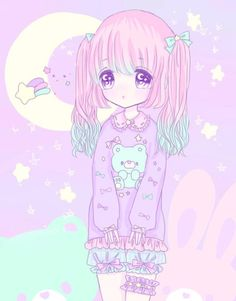 Image discovered by Bbies kawaii. Find images and videos about girl, cute and pink on We Heart It - the app to get lost in what you love. Lolis Anime, Chibi Anime, Kawaii Chibi, Kawaii Art, Kawaii Anime, Pastel Anime, Pastel Goth Art, Blue Anime, Kawaii Drawings