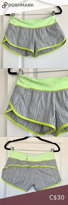 Lululemon Neon Speed Short Womens These shorts are great for the summer months. They are a neon yellow/green and grey. They have a zip pocket in the back and two small hidden pockets in the front. Grey Yellow, Neon Yellow, Green And Grey, Plus Fashion, Fashion Tips, Fashion Trends, Summer Months, Skorts, Running Shorts