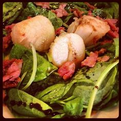Day #210 - special starter of juicy scallops, salty bacon, fresh spinach and rich balsamic at Alghero for mum's birthday