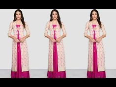 How to Make Long Jacket Cutting and Stitching Kurti Neck Designs, Kurti Designs Party Wear, Saree Blouse Designs, Blouse Patterns, Kurti With Jacket, Gown With Jacket, Kalamkari Dresses, Stitching Dresses, Indian Designer Suits