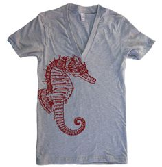 Unisex SEAHORSE Deep V Neck T Shirt American Apparel by lastearth