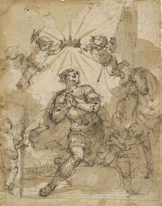 Giulio Benso (Pieve di Teco 1592-1668). A kneeling warrior saint crowned by putti  with inscription 'Odini[?]', black chalk, pen and brown ink, 33 x 26 cm.