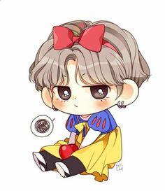 Snow White V Taehyung bts fanart Bts Chibi, Anime Chibi, Anime Kawaii, Taehyung Fanart, Bts Taehyung, Kpop Drawings, Cartoon Drawings, Fan Art, Chibi Tutorial