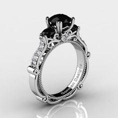 Classic Italian 14K White Gold 1.5 Ct Black and by GormanDesigns
