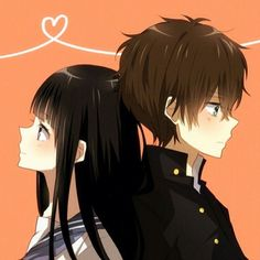 Chitanda x Oreki <33 x3 | We Heart It | hyouka, anime, and kawaii