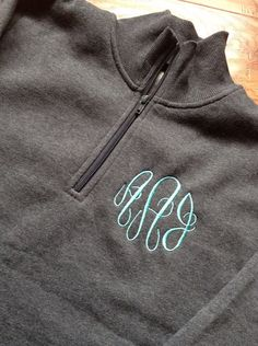 Ladies Fit  Charcoal Gray Monogrammed Quarter 1/4 by PerfectlyJane