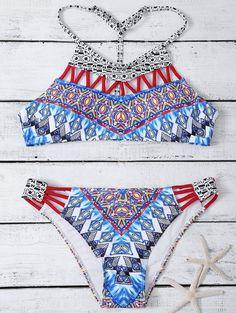 $18.49 Straps Hollow Out Tribal Print Bikini Set MULTICOLOR: Bikinis | ZAFUL