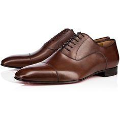 Christian Louboutin Greggo Flat (51.005 RUB) ❤ liked on Polyvore featuring men's fashion, men's shoes, havane, mens leather oxford shoes, mens flat shoes, mens leather shoes, mens oxford shoes and christian louboutin mens shoes