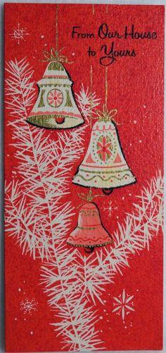 188 60s MID Century Bells Vintage Christmas Greeting Card   eBay