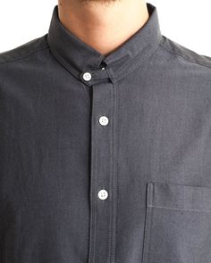 Collar Tab Shirt in Charcoal By YMC Tailored Shirts, Casual Shirts, Collar Designs, Shirt Designs, Dandy, Shirt Collar Styles, Best Fragrance For Men, Cute Skirt Outfits, Only Shirt