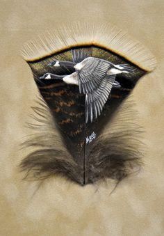 Canada geese on a turkey feather Feather Painting, Feather Art, Painted Feathers, Spirited Art, Feather Crafts, Hand Art, Weaving Art, Leaf Art, Wildlife Art