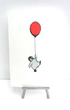 Penguin and floating red balloon - Art print drawing - nursery illustration - A4 picture