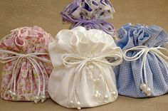 lavender and soaps .maybe some Chocolates too! Lavender Bags, Lavender Sachets, Wedding Favours, Wedding Gifts, Sewing Crafts, Sewing Projects, Lace Bag, Potli Bags, Fabric Gift Bags