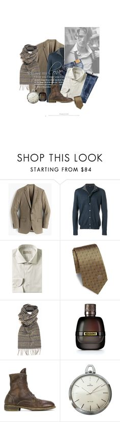 """""""Moment De Répit / Free Moment"""" by halfmoonrun ❤ liked on Polyvore featuring J.Crew, FAY, Nudie Jeans Co., Canali, Versace, Barbour, Missoni, Guidi, OMEGA and men's fashion"""