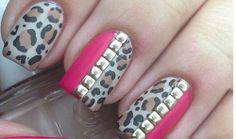 Matte Leopard Studded Nail Design